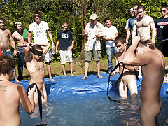 There is no thing like a worthwhile summer time splash, especially when the pool is fellow made and ghetto rigged as fuck teen jerking gay men group