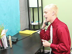 Patrick is bent over the desk with his assistant's ramrod buried in his ass gay first cock at My Gay Boss