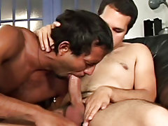 "These three studs really enjoy sucking and playing around with each other in this week's episode of ""His First Huge Cock gay fireman hunks"