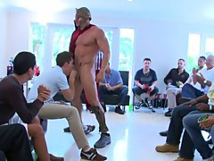 Group of guys having sex and gay group sex anal at Sausage Party
