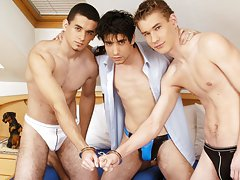 Without much delay, those three nice youthful dudes start undressing gay military men fucking