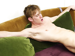 Hot gay blonde hunk jerking huge dick and emo boy cum facial at My Gay Boss