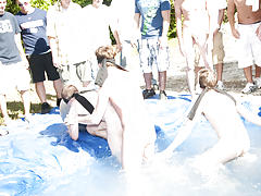I mean its not embarrassing enough playing naked in a nasty fake pool gay men having group sex