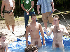 There is no thing like a worthy summer time splash, especially when the pool is man made and ghetto rigged as fuck naked mens group