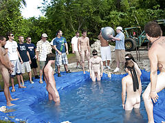 these poor pledges had to play blind folded in this gap in the ground filled with water gay outdoor group sex