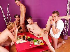 Gay group masturbation and guy group sex at Crazy Party Boys