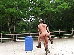 The trio winners get their rewards in the pony stable, and ooohhhh what a bunch of great prizes. Dildo in the ass, stroking off while a horse watches,