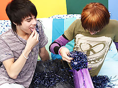 They forgo forks and instead eat the cake off each other gay fingering twinks at Boy Crush!