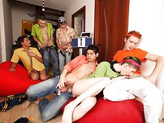 Free movies of hot gay groups having sex and gay group cock sucking at Crazy Party Boys
