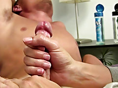 At first he was nervous and I had to slip in a video to get him to touch his cock male masturbating technique