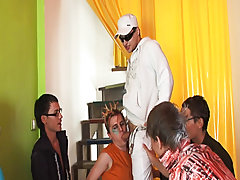 Male gay art groupe and male masturbation group at Crazy Party Boys