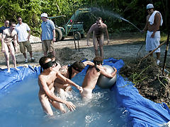 I mean its not embarrassing enough playing in nature's garb in a naughty fake pool gay group sex party