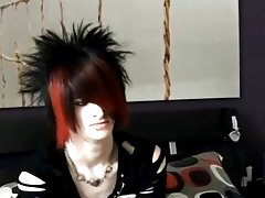 Then undresses down and shows off his gorgeous emo body.