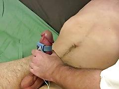 Man and boy masturbating and male masturbating machine