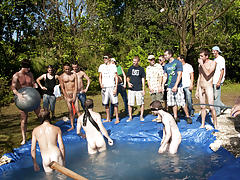There is nothing like a nice summer time splash, especially when the pool is man made and ghetto rigged as fuck gay group having sex
