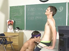 Caleb leans against the teacher's desk and lets Ashton suck on his palpitating dick anal teen first male at Teach Twinks