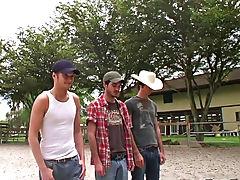 Naked pig chasing, naked bareback racing, and nude paintball... yeeeee hawww gays group sex