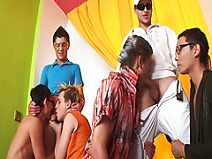 Group pissing guys and group sex gay guys at Crazy Party Boys
