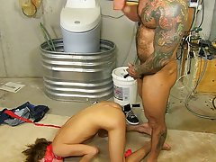 Twink boys shaving pub hairs and enormous hard erections at Bang Me Sugar Daddy