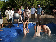 I mean its not embarrassing enough playing naked in a nasty fake pool group old guys