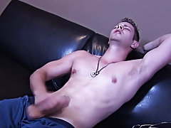 He was so close to the brink of the sofa, he nearly toppled over onto the floor but with demonstrable skill, Steve kept jacking on his cock. 'Oh