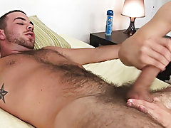 I began to jerk and jerk off him faster now working that ramrod up and down and slapping his hirsute belly with it