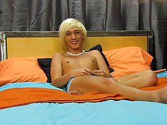 Under a big mop of near-white hair is the very cute Ryan Morrison xxx gay twink thumbnail photos at Boy Crush!