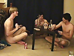 "Trace and William acquire jointly with their fresh friend Austin for the second installment of ""game night europe gay twink actors - at Boy Feast"