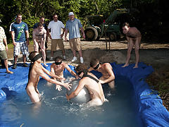 There is nothing like a nice summer time splash, especially when the pool is man made and ghetto rigged as fuck gays having group sex
