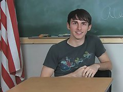 Alex Todd seems a little nervous during his interview males first anal strap on at Teach Twinks