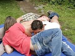 As Peter kisses his buddy, the other guy kneel down to suck both of their cocks outdoor male masturbation