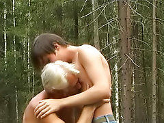 Deep forest crony and old man having it away gay male outdoor sex