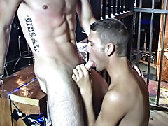 Reaching climax first, our muscle man unleashes a few streams of cum onto his begging partner's face and chest as he's down on his knees to