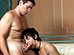 Watch them talk, then play, and then the boy has the older partner's tool deep in his throat twinks fucking old men