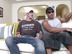 After several let downs Danny spotted Jay hopping off his motorcycle in his tight tank top muscles glistening in the sun interracial gay male porn