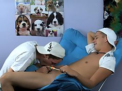 He goes to his new boyfriend Kayden Daniels' house where lollipop sucking turns into cock sucking first time having gay sex