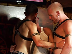 Soon all three chaps are feasting on each other's meaty cocks, sometimes ramming a head down hard or face fucking with force male tickling groups