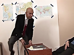 The older bald teacher pulls the twink's big dick from its nylon prison and eats it like crazy demanding to have the throbbing tool in his butt f