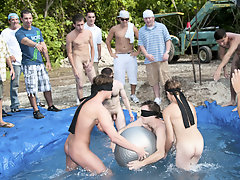 these poor pledges had to play blind folded in this hole in the ground filled with water men masturbating in group