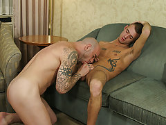 Sam lured in Jesse by advertising his leather kit in the scrap gay hunk oral