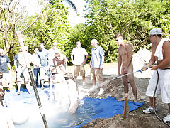 these poor pledges had to play blind folded in this hole in the ground filled with water gay nudist groups