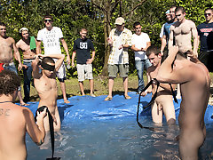 I mean its not embarrassing enough playing in the buff in a foul fake pool old gay sex group